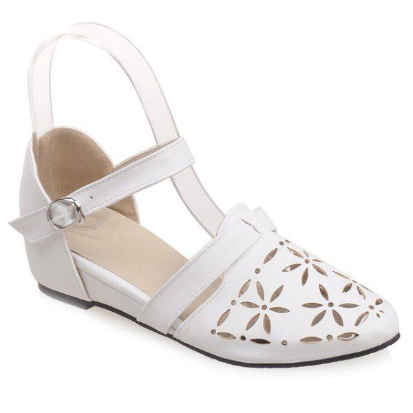Sweet Cloesed Toe and Hollow Out Design Women's Sandals - WHITE 39