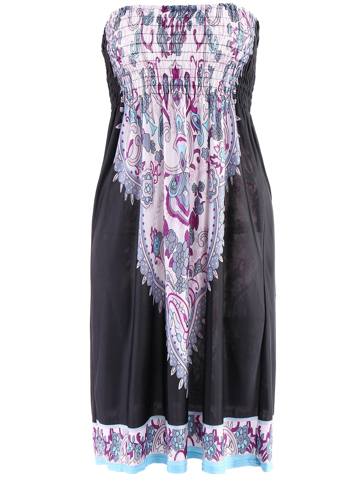 Bohemian Strapless A-Line Printed Dress For Women
