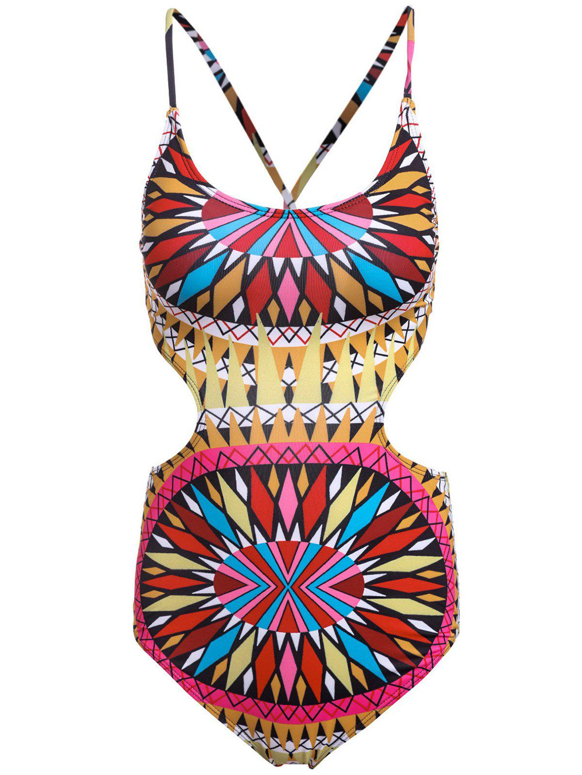 Colorful Ethnic Print One Piece Swimwear For Women