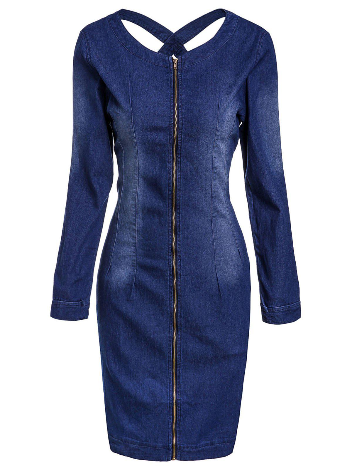 Casual Scoop Neck Long Sleeve Zip Up Slimming Women's Denim Dress - BLUE M