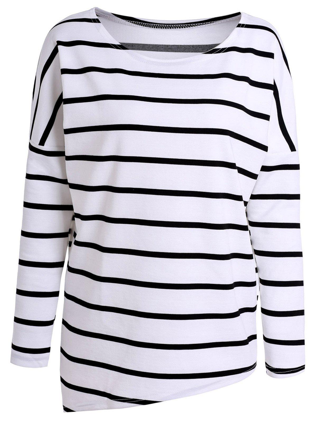 Concise Scoop Neck Long Sleeve Striped T-Shirt For Women - WHITE/BLACK XL