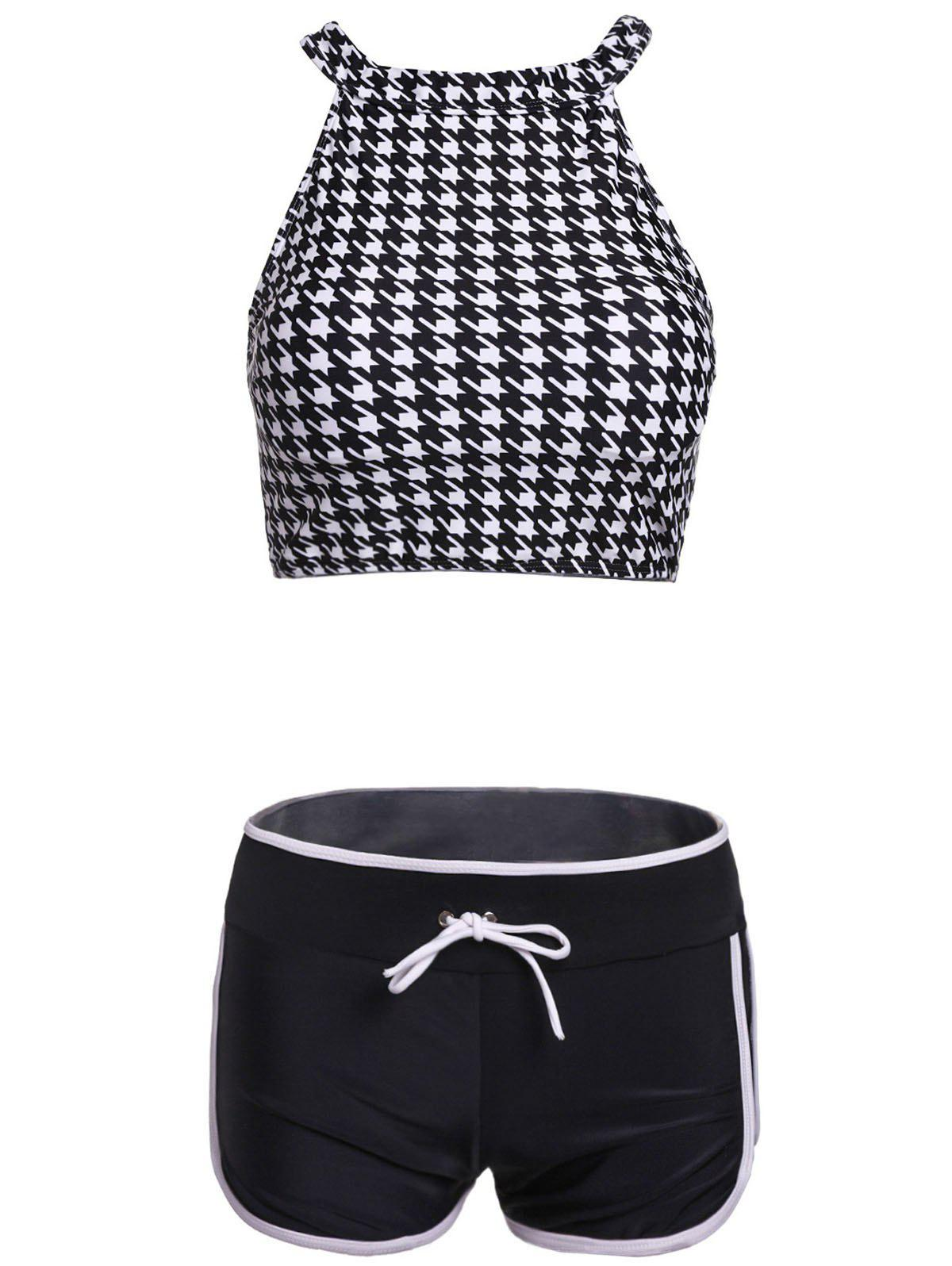 Chic Houndstooth Stand Neck Two-Piece Women's Swimsuit - BLACK M