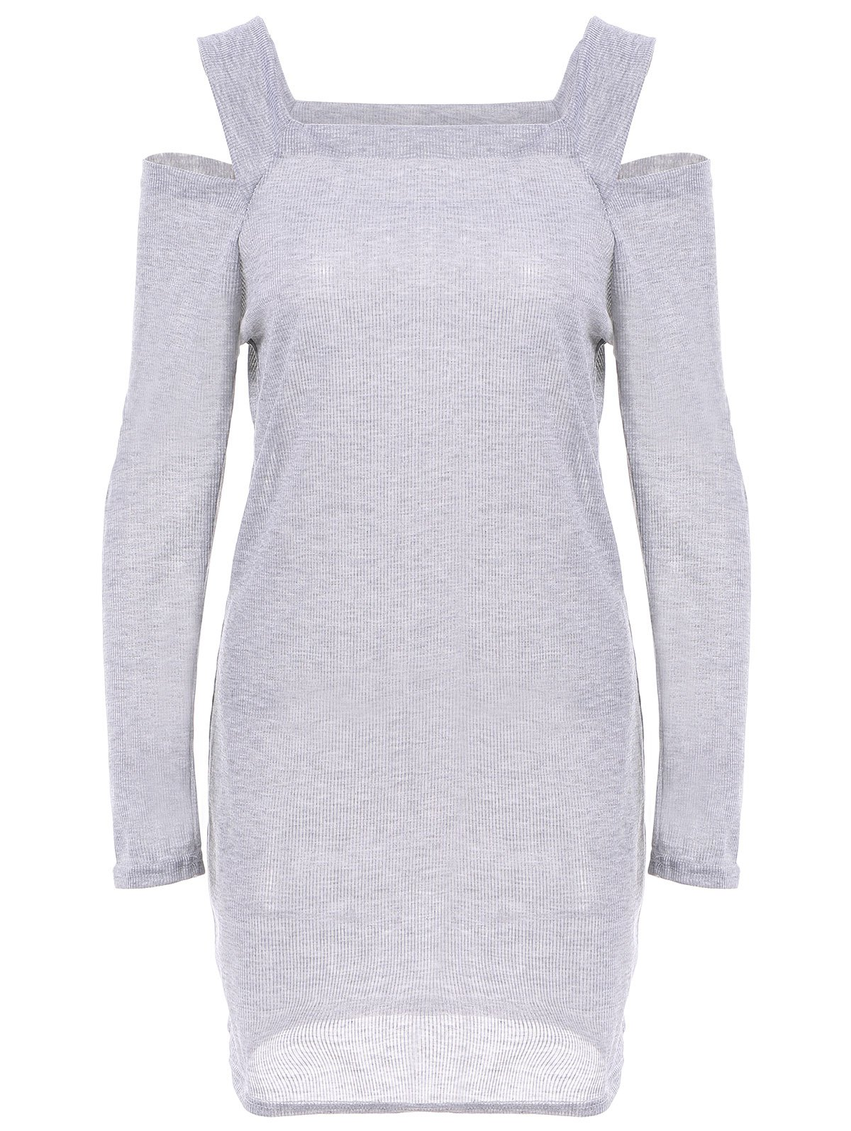 Stylish Square Neck Shoulder Hollow Out Solid Color Long Sleeve Slimming Ribbed Cotton Women's Dress - DEEP GRAY ONE SIZE
