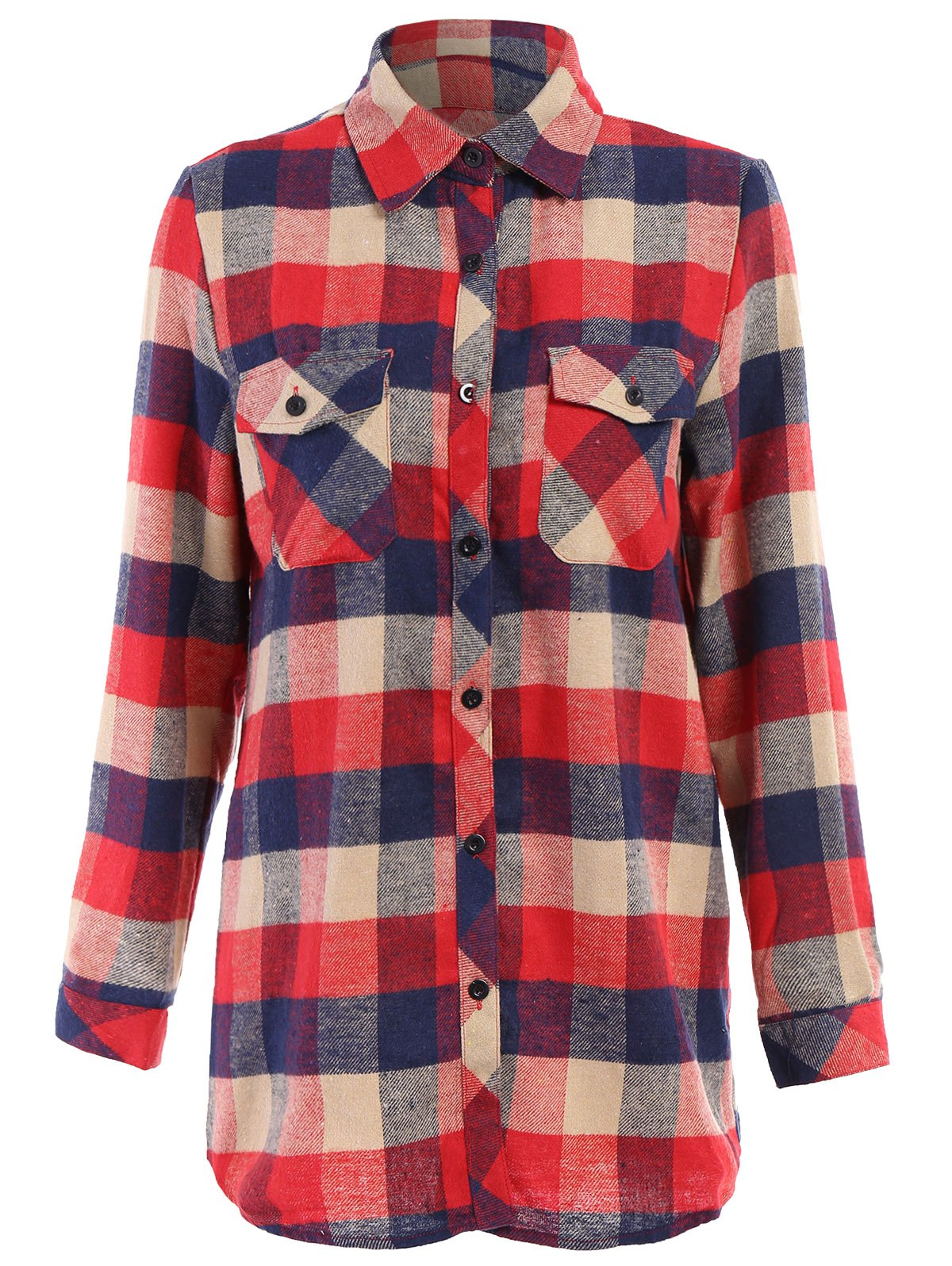 Preppy Style Women's Spring Long Shirt With Colorful Checked Print Slimming Design - RED L
