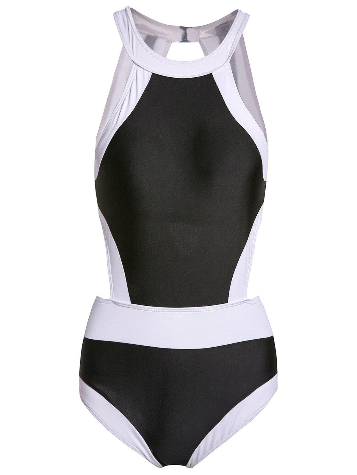 Chic Round Neck Color Block Cut Out One-Piece Women's Swimwear - BLACK S