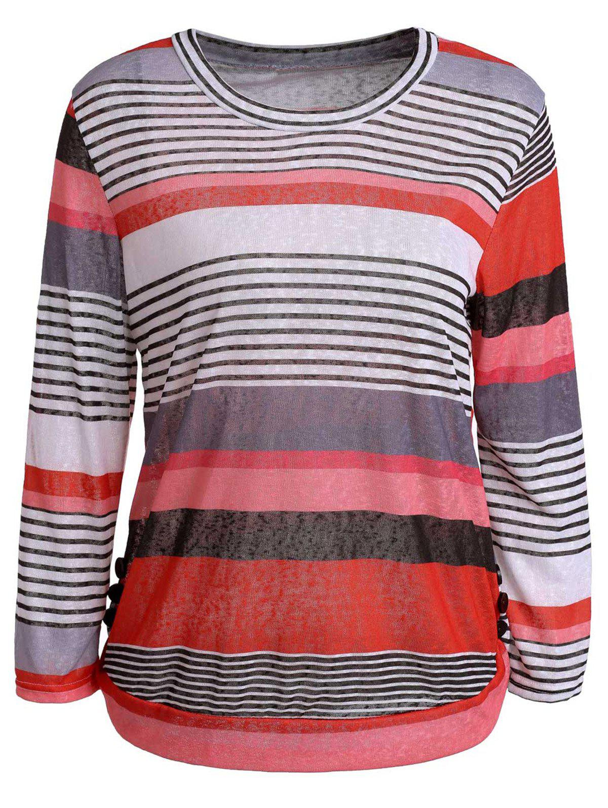 Simple Style Scoop Neck 3/4 Sleeve Striped Pullover Knitwear For Women - JACINTH S