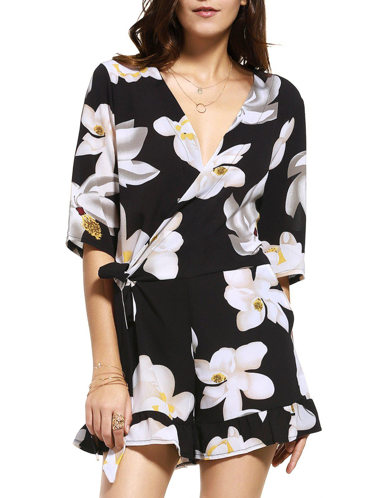 Floral Plus Size Romper with Sleeves - BLACK 5XL
