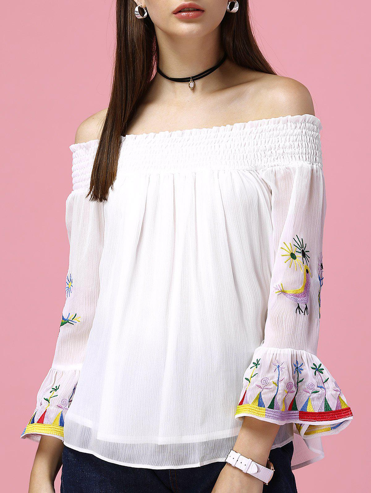 Women's Graceful Flare Sleeve Off The Shoulder Blouse - WHITE L