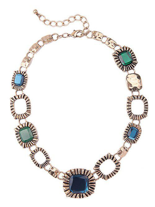 Vintage Faux Gem Square Necklace - COLORMIX