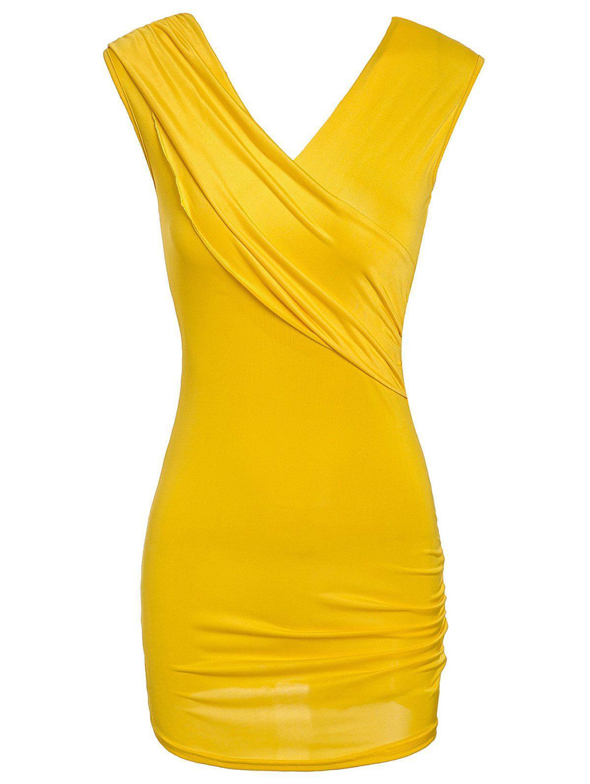 Chic Sleeveless V-Neck Slimming Pure Color Women's Mini Dress - YELLOW ONE SIZE(FIT SIZE XS TO M)