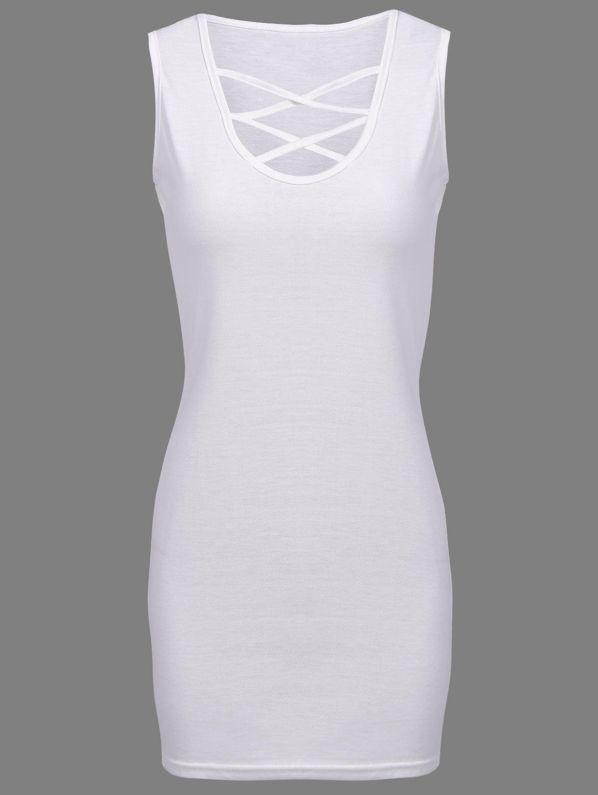Elegant Plunging Neck Sleeveless Sheathy Criss-Cross Solid Color Women's Dress - WHITE L