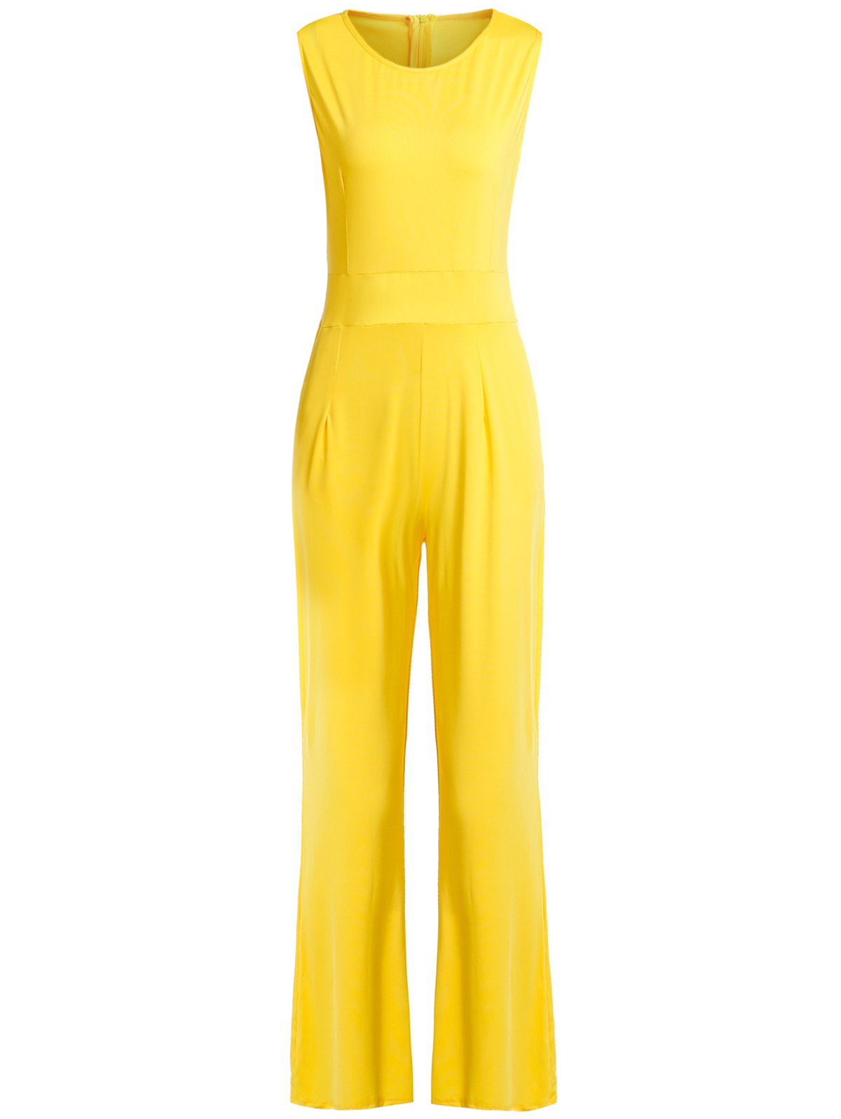 Stylish V-Neck Sleeveless Solid Color Jumpsuit For Women - YELLOW XL