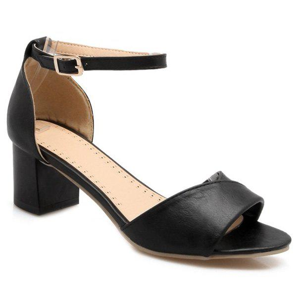 Stylish Solid Colour and Ankle Strap Design Women's Sandals - BLACK 39