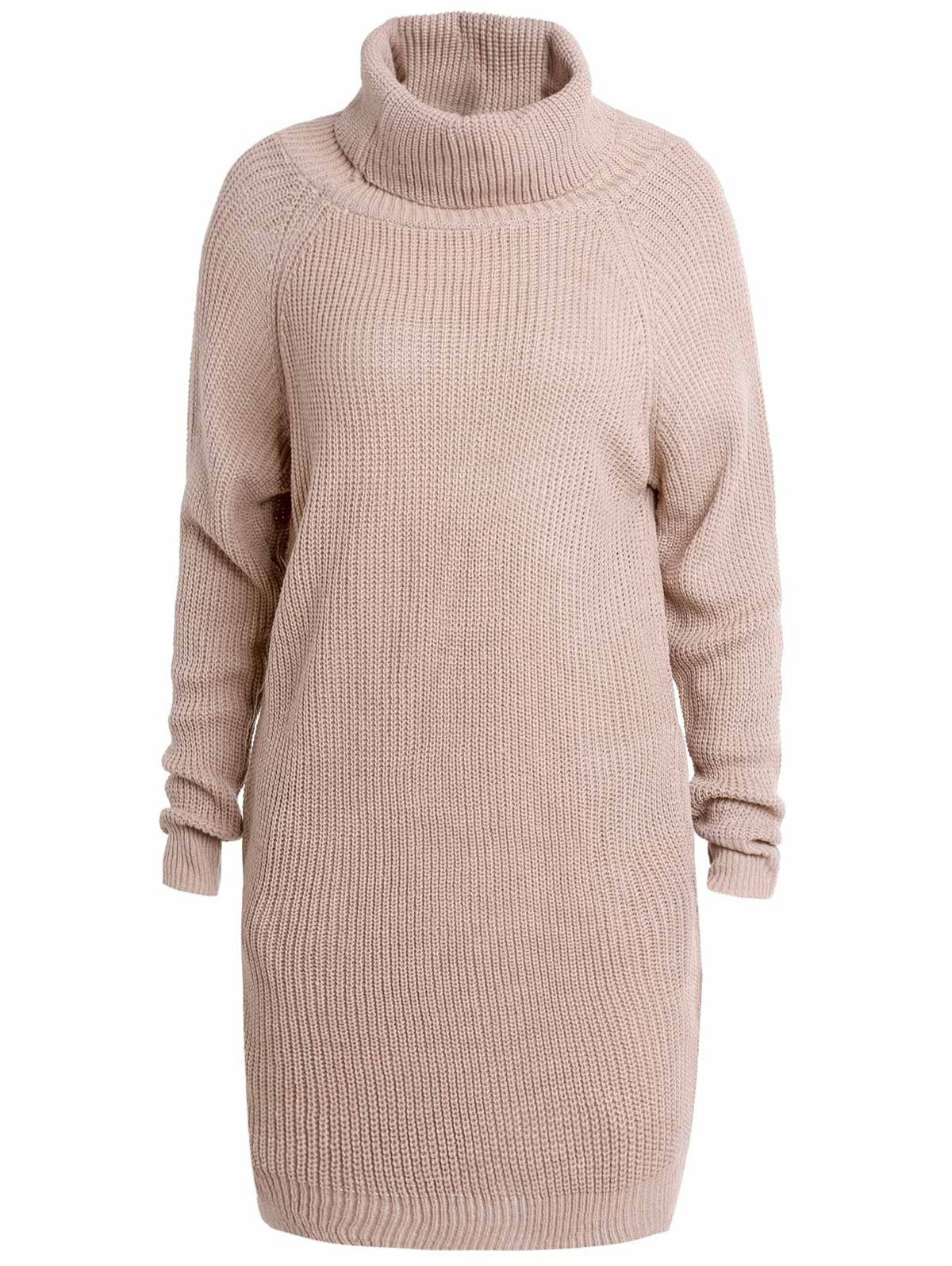 Stylish Long Sleeve Turtleneck Loose-Fitting Pure Color Women's Long Sweater - LIGHT APRICOT XL