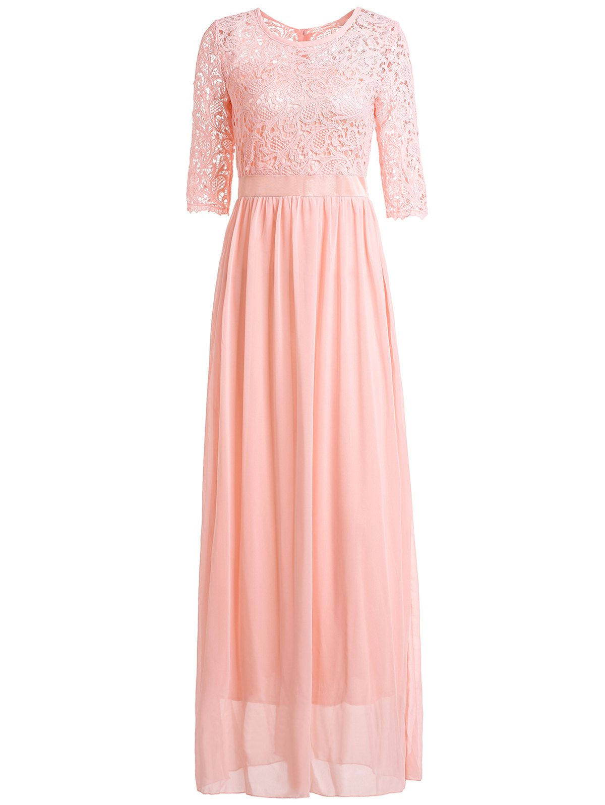 Chic 3/4 Sleeve Scoop Neck Cut Out Women's Maxi Dress - PINK L