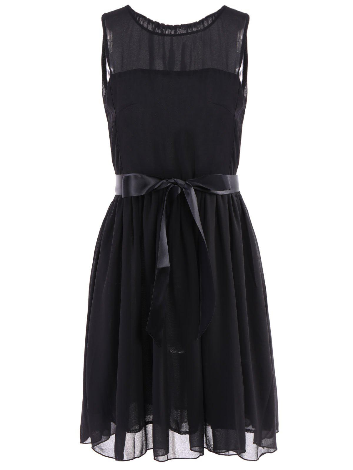 Elegant Style Round Neck Sleeveless Chiffon Women's Dress - BLACK L