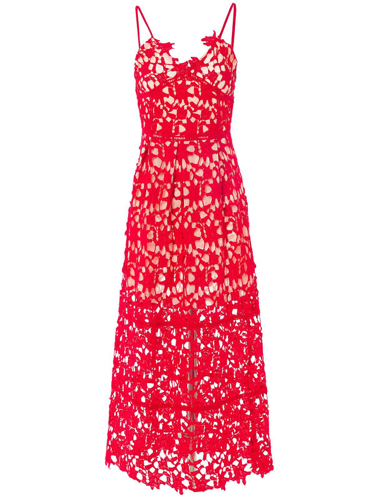 Elegant Spaghetti Strap Sleeveless Backless Solid Color Hollow Out Lace Women's Dress - RED M