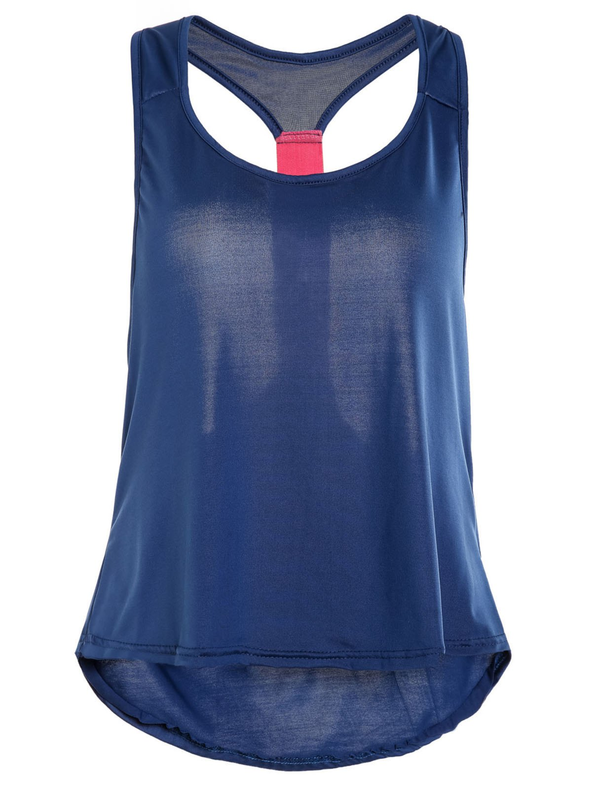 Attractive Hit Color Racerback Yoga Tank Top For Women - DEEP BLUE S
