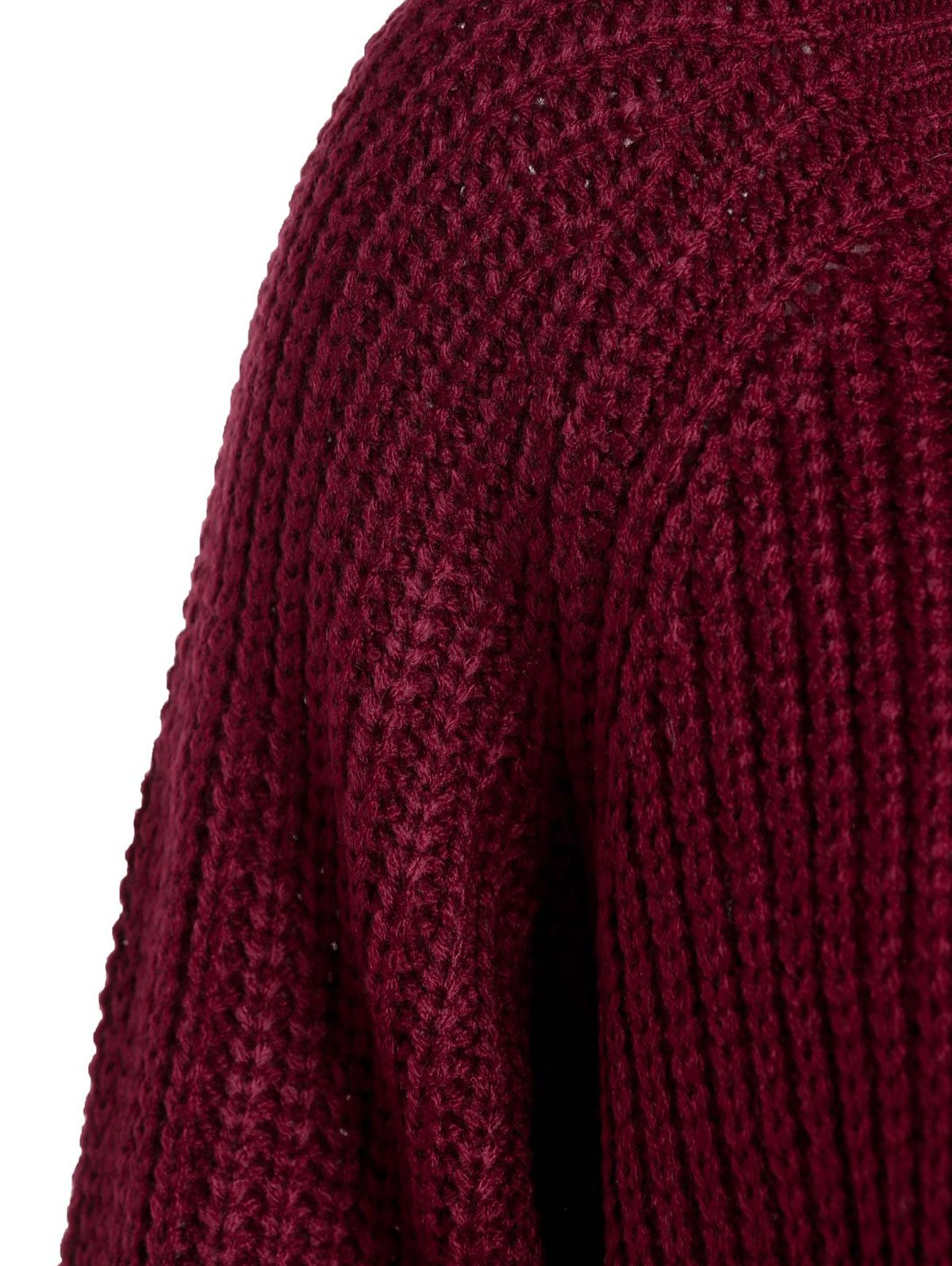 Scoop Neck Long Sleeve Sweater For Women - WINE RED ONE SIZE(FIT SIZE XS TO M)