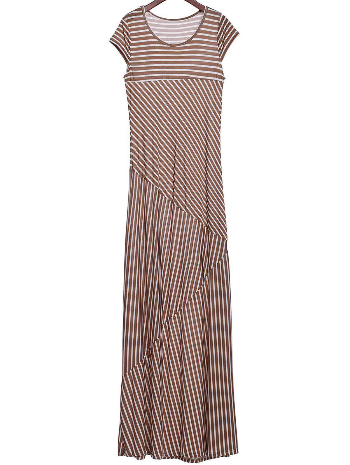 Short Sleeve Scoop Collar Striped Maxi Dress - KHAKI XL