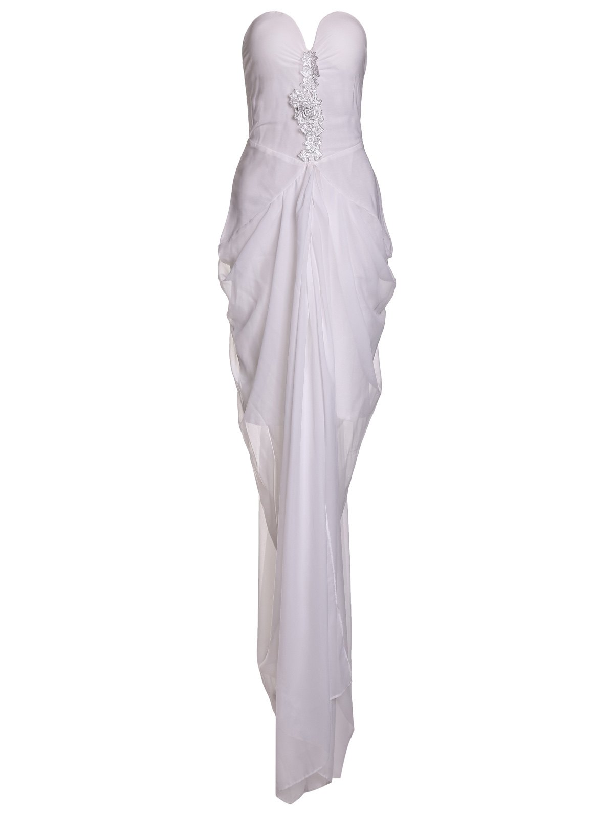 Charming White Strapless Irregular Pleated High Slit Chiffon Maxi Dress For Women