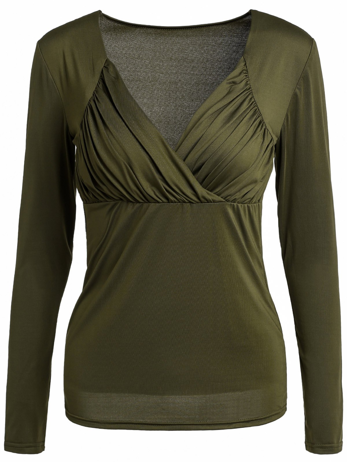 Sexy Sweetheart Neck Long Sleeve Solid Color Ruched Women's T-Shirt - BLACKISH GREEN M