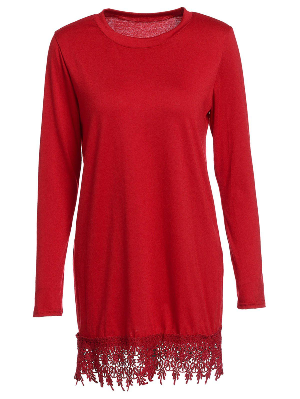 Charming Long Sleeve Round Neck Laciness Solid Color Women's Dress - CLARET M