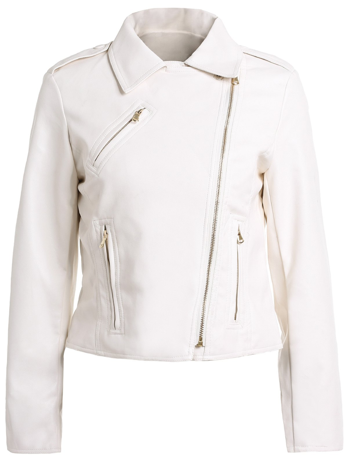 Stylish Turn-Down Collar Long Sleeve Slimming Zippered Women's PU Jacket - WHITE XL