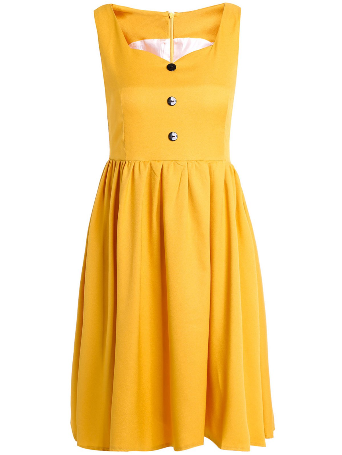 Vintage Sweetheart Neck Sleeveless Pure Color Women's Dress - M YELLOW