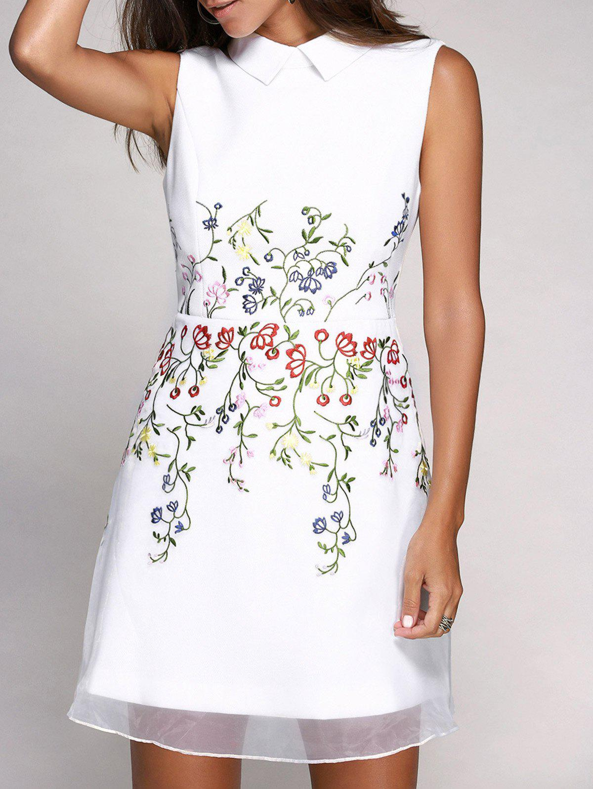 Cute Sleeveless Flat Collar Voile Splicing Floral Embroidery Women's Dress - WHITE XL