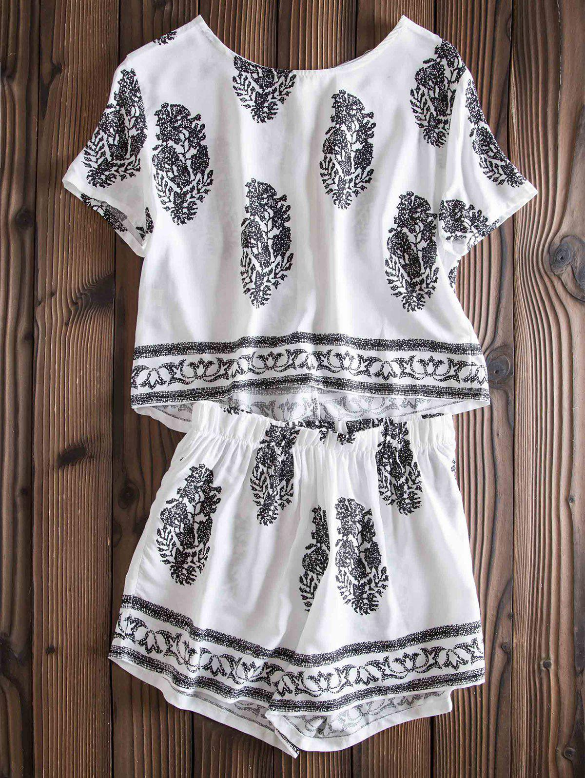 Stylish Women's Jewel Neck Short Sleeve Print Suit