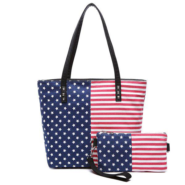 Leisure Stars and Stripes Design Women's Shoulder Bag - BLUE