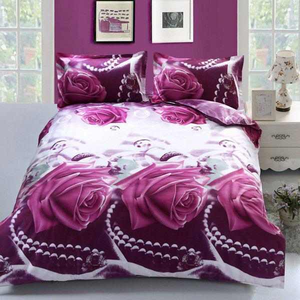 Elegant Pearl Rose 3D Printed Duvet Cover 4PCS Bedding Set - PURPLE FULL