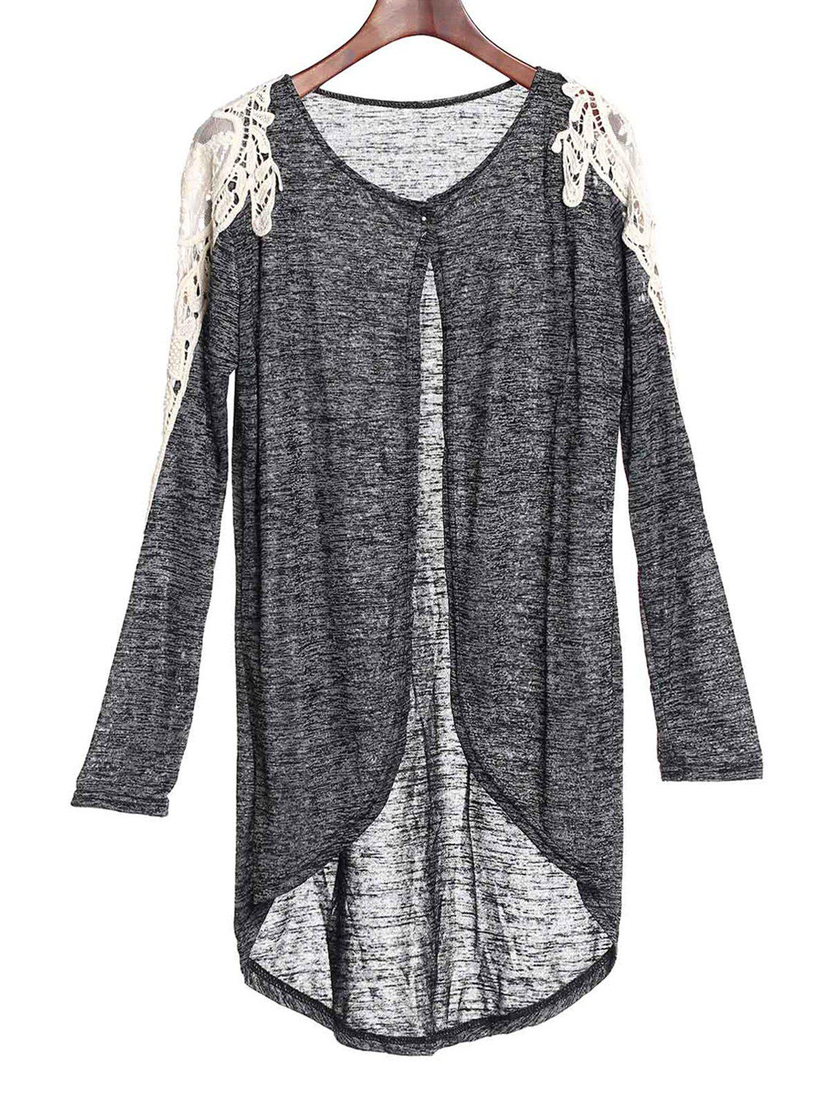 Casual Hollow Out Lace Spliced 3/4 Sleeve Gray Cardigan For WomenWomen<br><br><br>Size: M<br>Color: GRAY