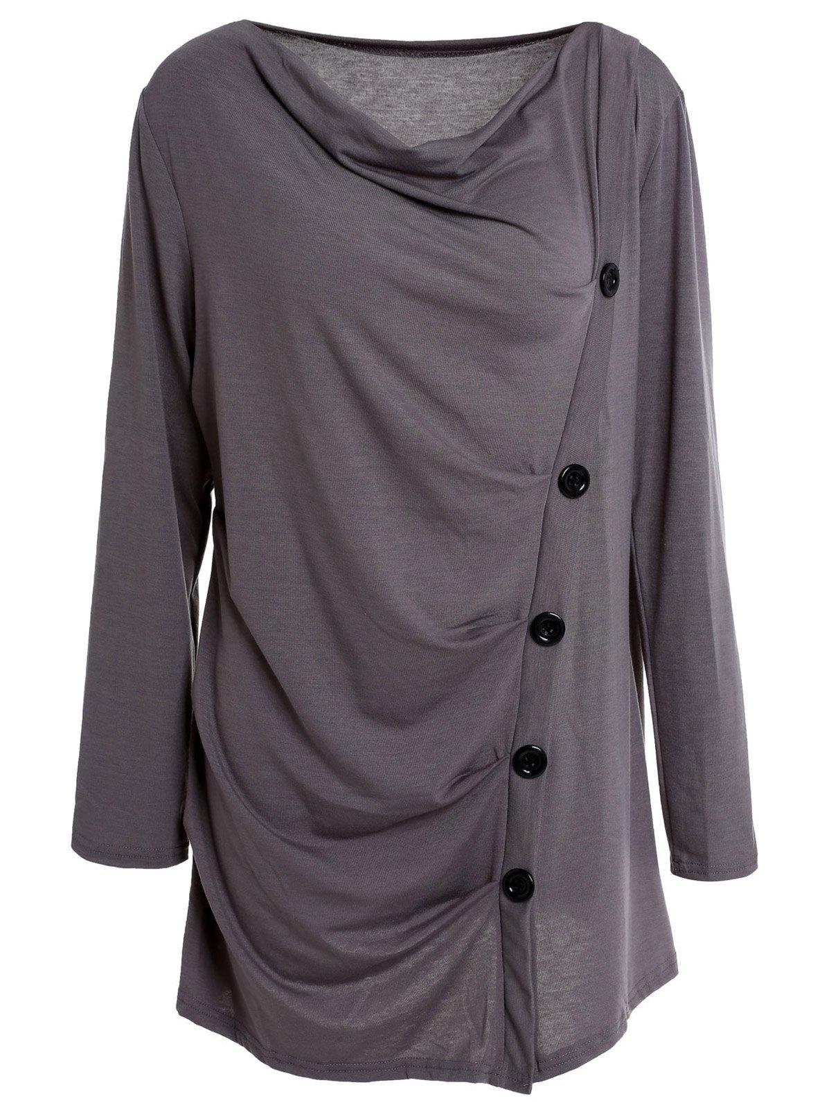 Stylish Long Sleeve Cowl Neck Solid Color Draped Women's T-Shirt - GRAY M