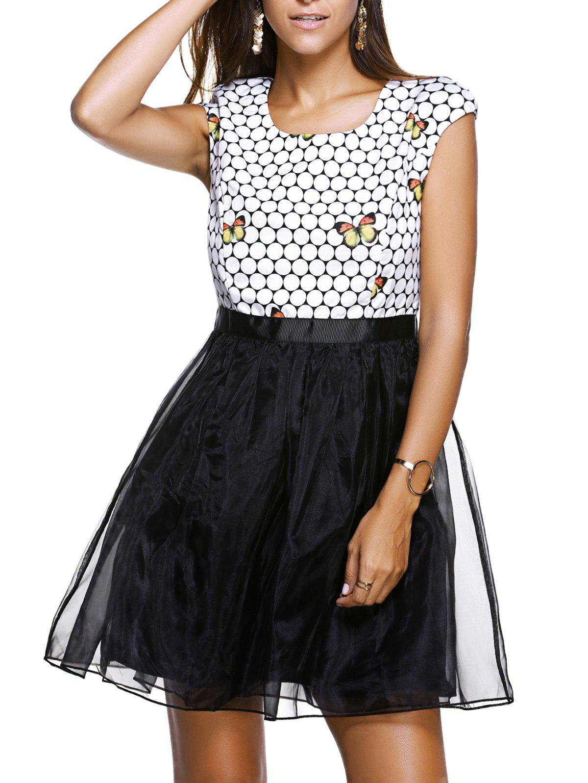 Sweet Women's Scoop Neck Cap Sleeve Butterfly Print Organza Dress - WHITE/BLACK S