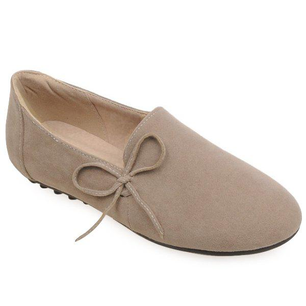 Simple Bowknot and Round Toe Design Women's Flat Shoes - APRICOT 38