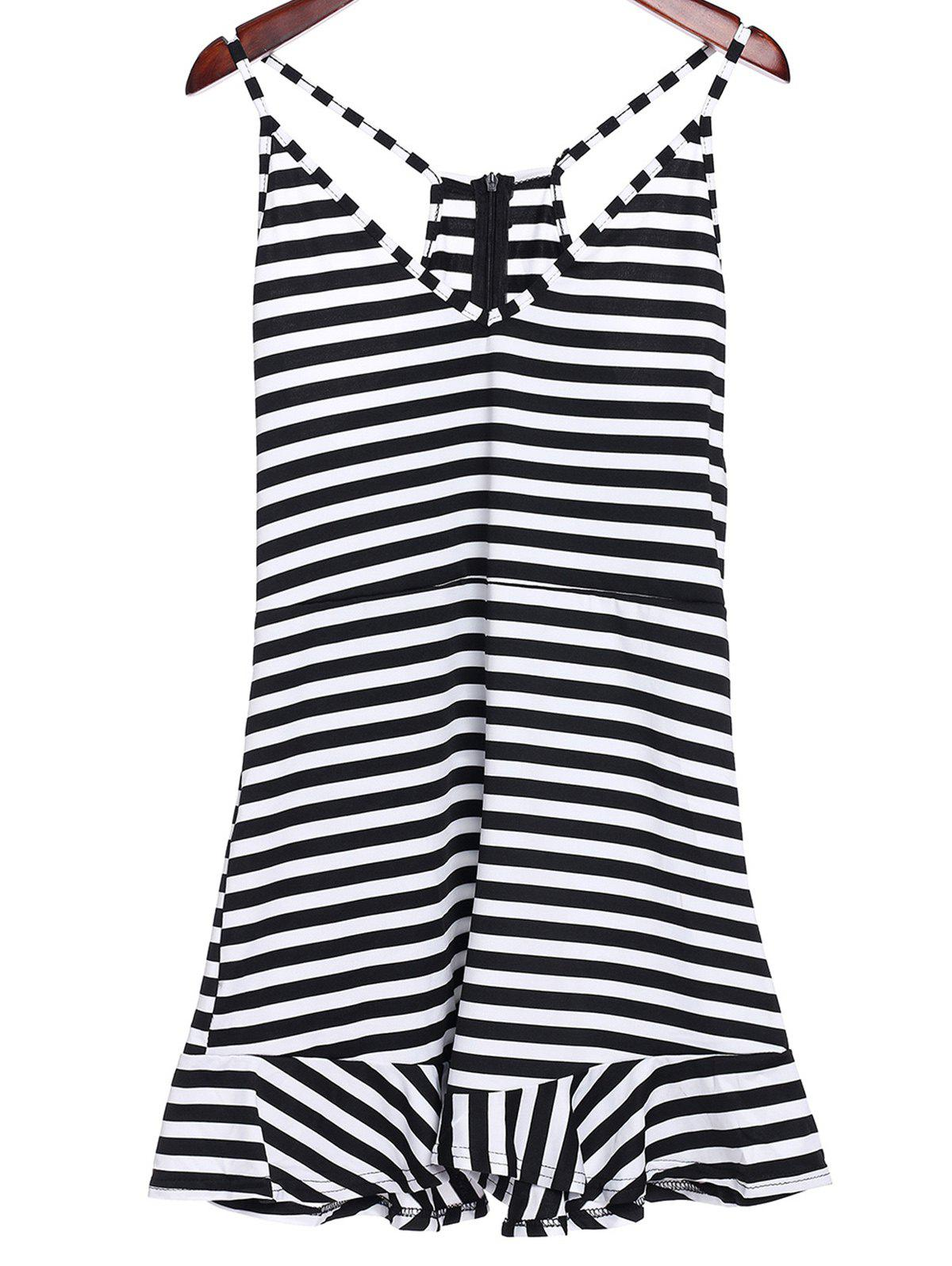 Sexy Women's Plunging Neckline Ruffled Striped Romper - WHITE/BLACK L