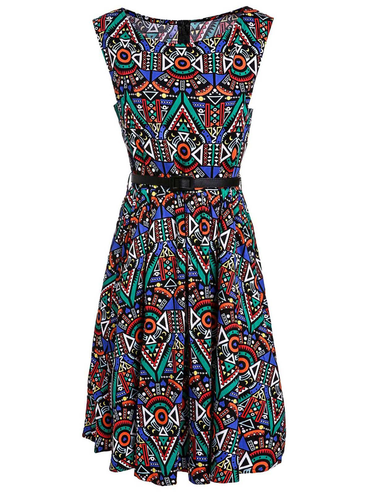 Retro Style Sleeveless Round Neck Printed Women's Ball Gown Dress - COLORMIX M