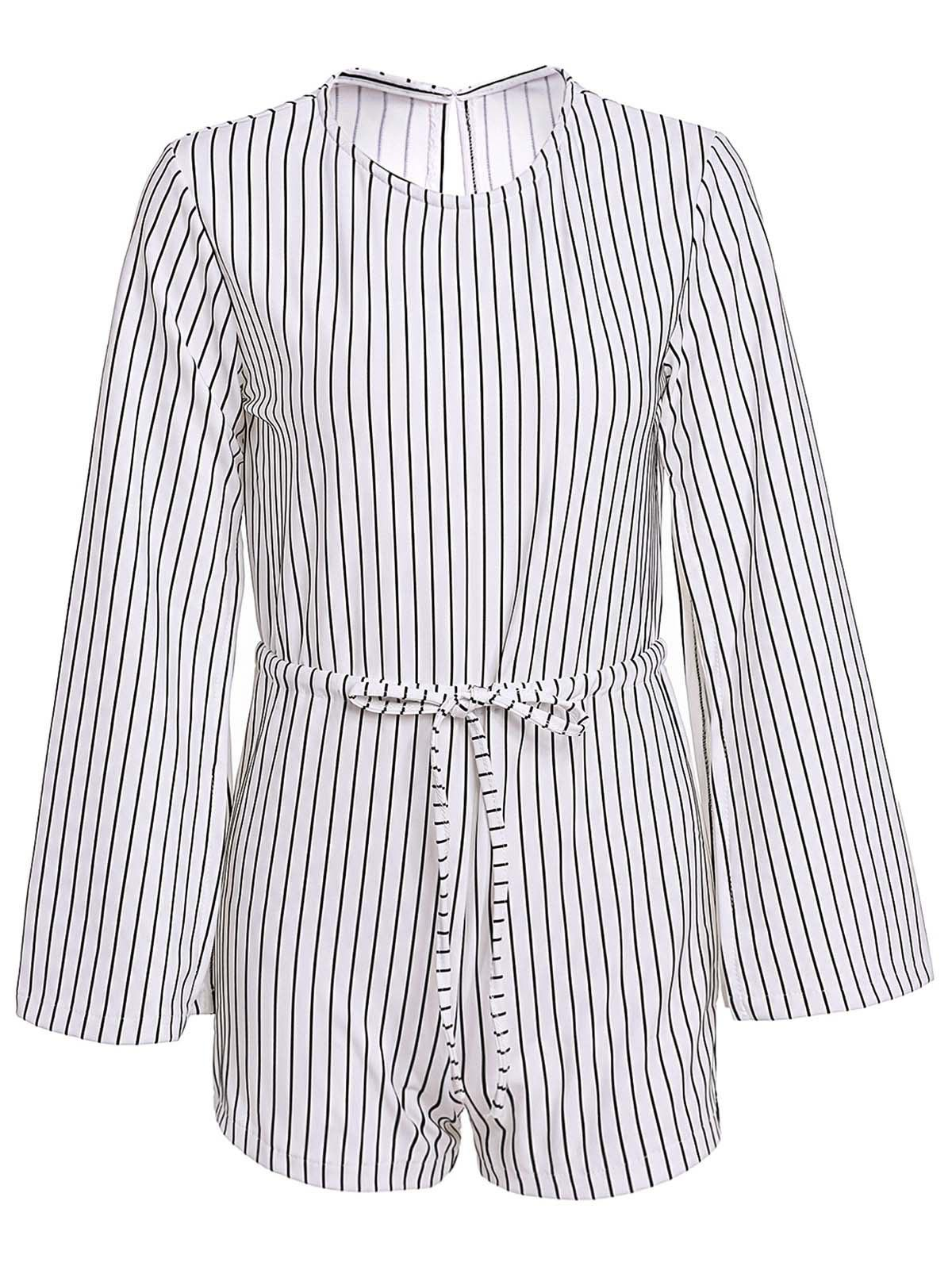 Stylish Round Neck Long Sleeve Striped Slit Women's Romper - WHITE/BLACK ONE SIZE(FIT SIZE XS TO M)