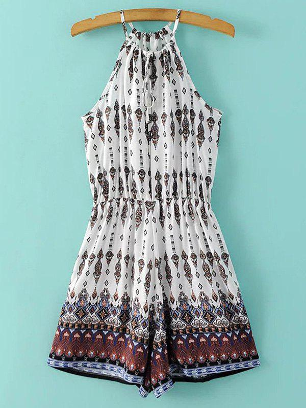 Stylish Spaghetti Strap Ethnic Print Women's Playsuit - COLORMIX M