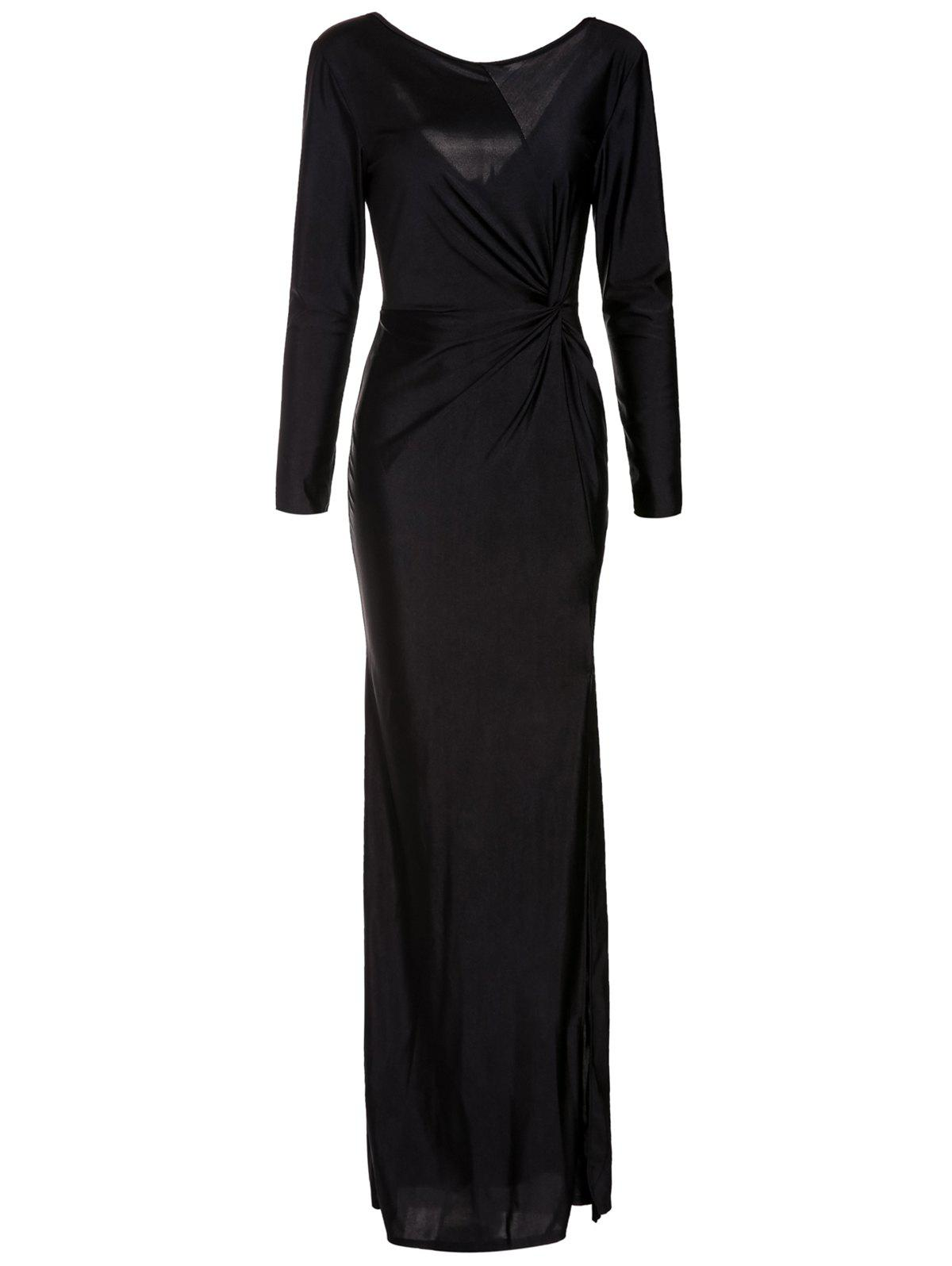 Elegant Long Sleeve Scoop Neck Black High Slit Ruched Women's Maxi Dress - BLACK ONE SIZE(FIT SIZE XS TO M)