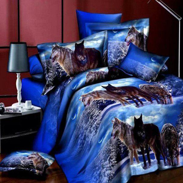 Stylish Snowfileld Night Scene 3D Wolves Reactive Print Duvet Cover 4PCS Bedding Set - BLUE FULL