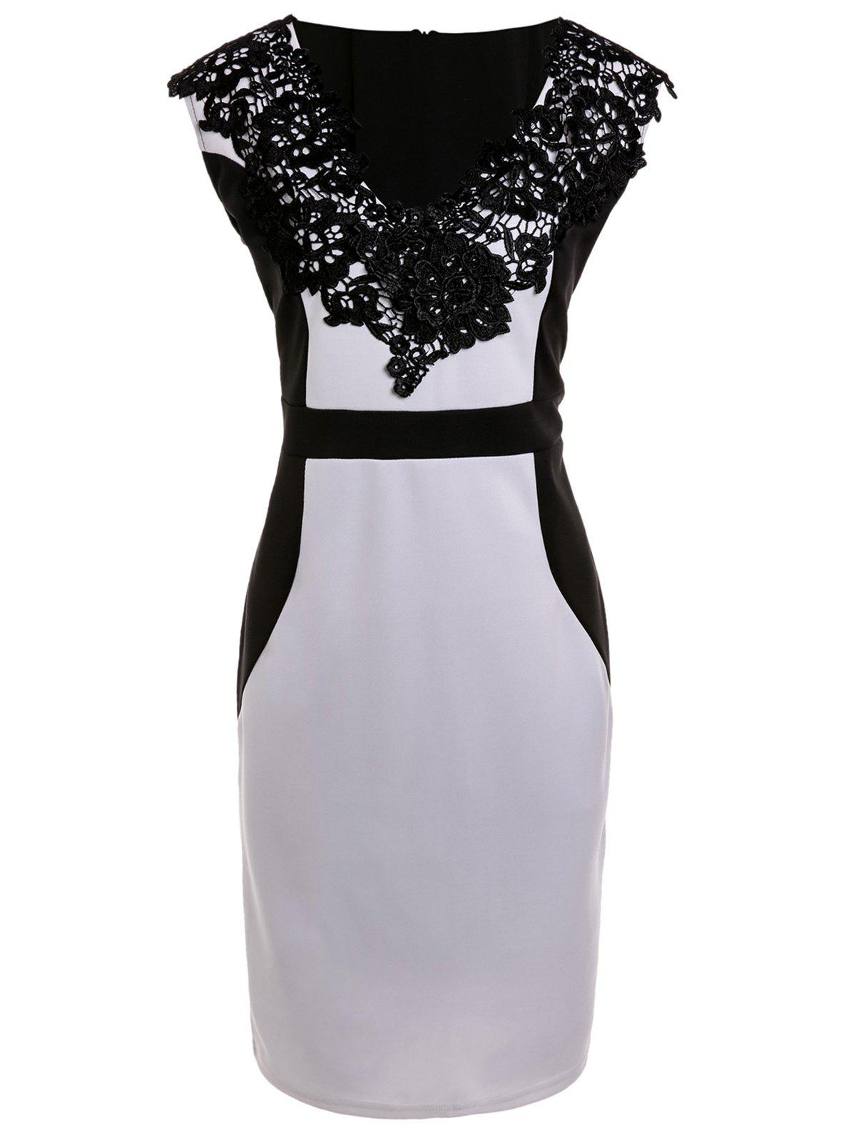 Sleeveless Hit Color V-Neck Lace Dress For Women - WHITE 2XL