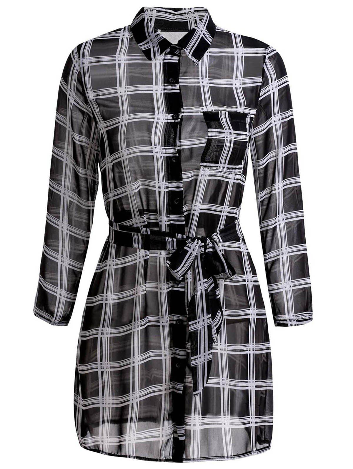 Concise Plaid Printed Shirt Collar Waist Tied Mini Dress For Women