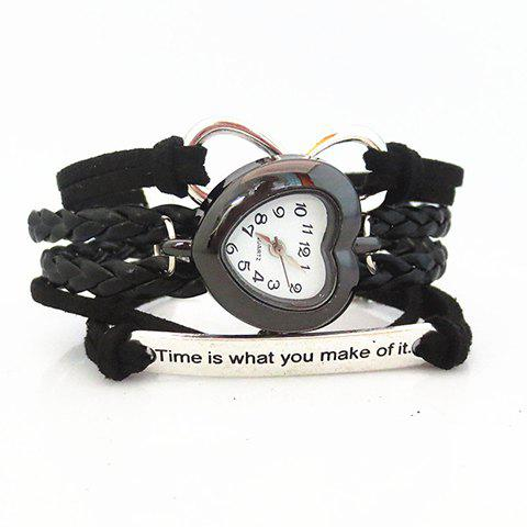Multilayered Friendship Bracelet Watch - BLACK