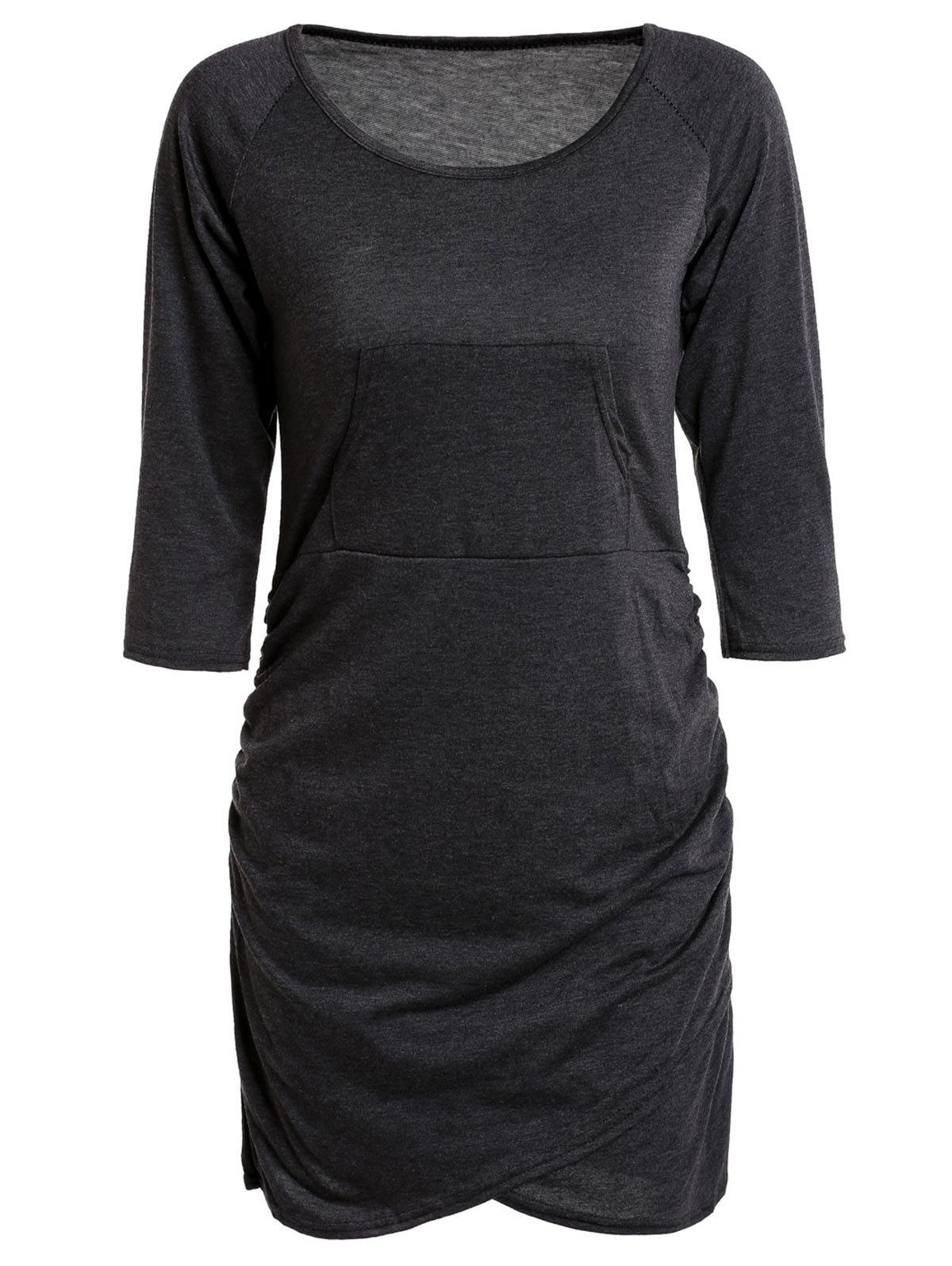 Chic Low-Cut Scoop Neck Solid Color 3/4 Sleeve Asymmetric Bodycon Dress For Women - BLACK GREY S