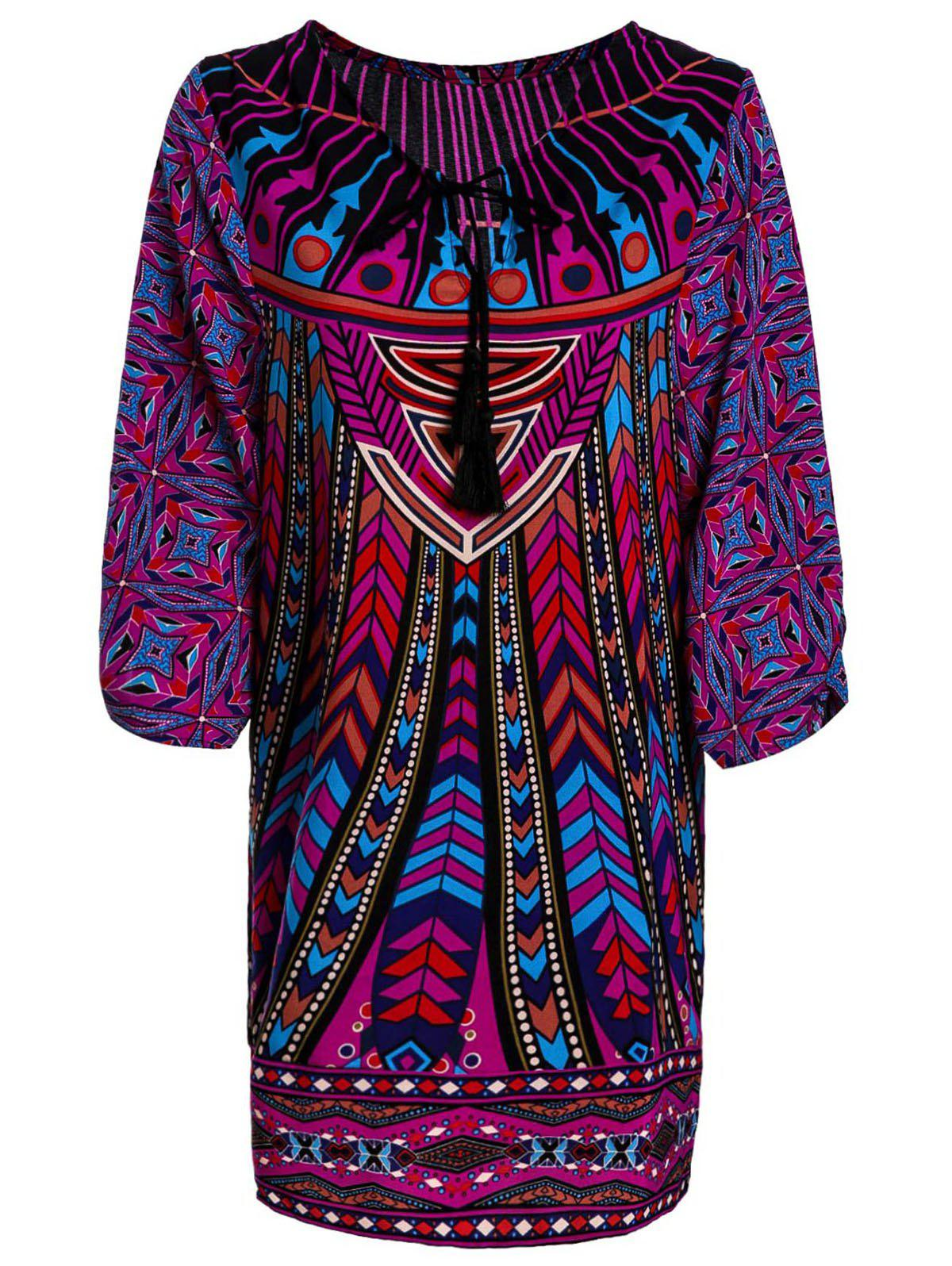 Lace-Up V-Neck Colorful Ethnic Print 3/4 Sleeve Dress For Women full print lace up baroco style v neck 3 4 sleeve dress for women