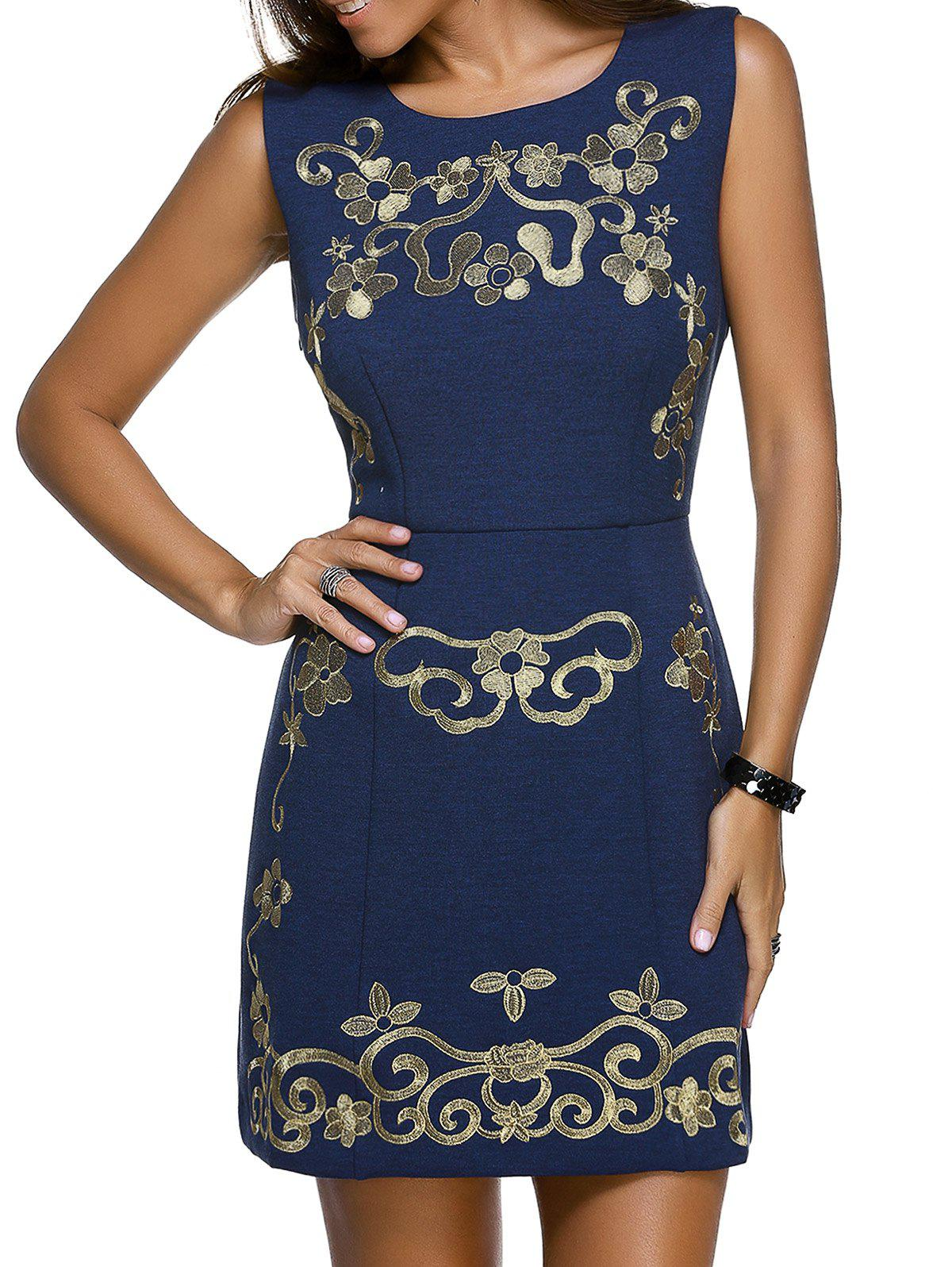 Trendy Sleeveless Round Neck Skinny Slimming Floral Embroidery Women's Dress - PURPLISH BLUE L