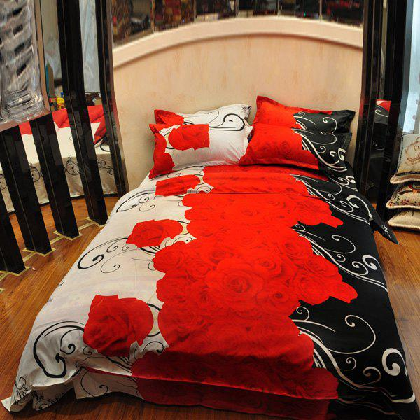 Fantasy 3D Red Rose Design Reactive Print Duvet Cover 4PCS Bedding Set - BLACK/WHITE/RED FULL